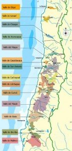 Map of Chilean wine regions from Chilean-wine.com.