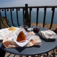 "Enjoying Frank Cornelissen""s Etna Rosso near the Ionion Sea. PHOTO: Terry Duarte."