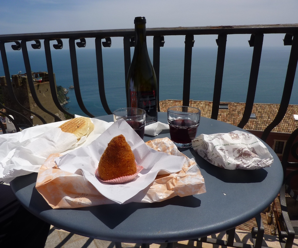 "Enjoying Frank Cornelissen""s Etna Rosso near the Ionion Sea. PHOTO: Terry Duarte."