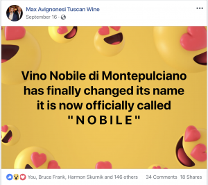 A Vino Nobile di Montepulciano producer joyously announces a change.