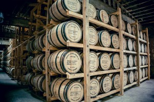 Charred oak bourbon barrels at Louisville's Kentucky Peerless Distilling Co.