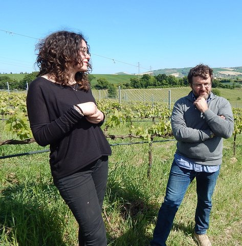 Martina, left, and Georgio Savini, right, in the vineyard.