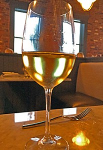 A glass of Sonoma-Cutrer Chardonnay.