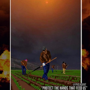 """Protect the Hands That feed Us."" United Farm Workers poster."