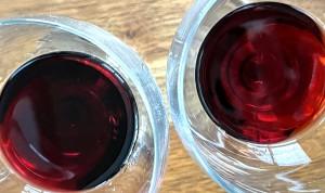 Porto Kopke Fine Ruby (left) shows a darker, purpler color than the bronze-red Porto Kopke Fine Tawny at right.