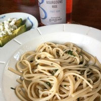 What goes with Domaine Gueguen Bourgogne Rosé? How about some linguine with sage and butter and avocado with goat cheese?
